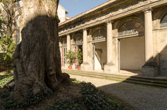 Courtyard historic palace in italy Royalty Free Stock Photo