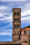 Ancient italian tower in Rome Italy on blue sky Royalty Free Stock Image