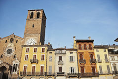 Ancient italian village. Wide angle of piazza della Vittoria in Lodi Stock Image