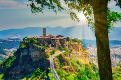 Ancient italian village Civita di Bagnoreggio Lazio landscape. View royalty free stock photography