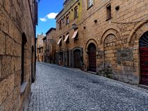 Ancient italian Village Orvieto street buildings royalty free stock image