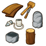 Ancient items for woodworking. Tools on a white background. Vector illustration Stock Photos