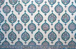 Ancient Iznik lapis tiles with floral pattern background. Ancient famous Iznik lapis tiles with floral pattern close up background stock image
