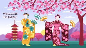 Ancient Japan Banner. Ancient japan culture tourists attraction banner with women in traditional kimono sakura blossom pagoda mountains vector illustration Stock Photos