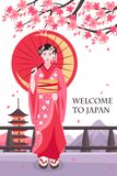 Ancient Japan Geisha Poster. Ancient japan traditions culture tourists attraction poster with geisha girl in red under cherry blossom vector illustration Stock Photography