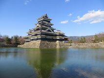 Ancient japanese castle at the lake. Ancient castle at the lake seen in the spring time Royalty Free Stock Photography