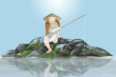 Ancient japanese fisherman. Ancient  japanese fisherman   sat on bank of river Stock Images