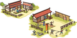 Ancient Japanese samurai training camp and the sta Stock Images