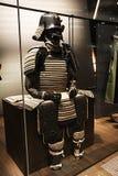 Samurai armor. A ancient japanese samurai warrior armour inside the confluence museum at lyon in france Royalty Free Stock Photos