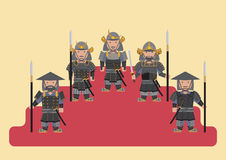 Ancient japanese soldier flat graphic Stock Image