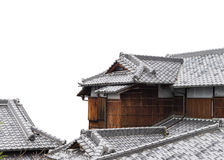 ancient  japanese wood house with roof on isolated white background Stock Photo