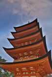 Ancient Japanese wood pagoda with blue sky. In Miyajima island Royalty Free Stock Image