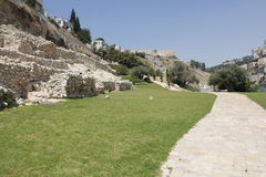 The Ancient Jebus Wall in the City of David Royalty Free Stock Images