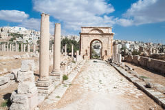 Ancient Jerash ruins. East Gate in Jerash, (the Roman ancient city of Geraza), Jordan Stock Photography
