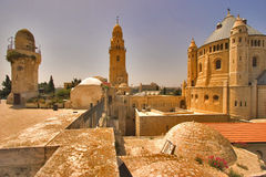 Ancient Jerusalem. Churches and mosques in old quarters of Jerusalem Royalty Free Stock Images