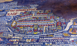 Ancient Jerusalem Map Mosaic Saint George Church Madaba Jordan. Ancient 6th Century Map Jerusalem Mosaic Saint George Greek Orthodox Church Madaba Jordan Stock Photography