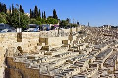 Ancient Jewish cemetery on the Mount of olives Stock Photos
