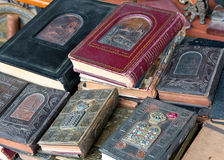 Ancient Jewish religious book. Counter with old books at the flea market in Jaffa Stock Image