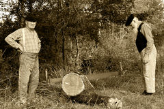 Ancient job four. Two former farmer who saw a tree Stock Photos