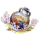 Ancient jug, amphora, coins, coral, isolated. Underwater landscape. Watercolor illustration Royalty Free Stock Image