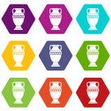 Ancient jug icon set color hexahedron. Ancient jug icon set many color hexahedron isolated on white vector illustration Stock Photo