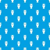 Ancient jug pattern seamless blue. Ancient jug pattern repeat seamless in blue color for any design. Vector geometric illustration Royalty Free Stock Photo