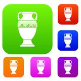 Ancient jug set collection. Ancient jug set icon in different colors isolated vector illustration. Premium collection Royalty Free Stock Photos