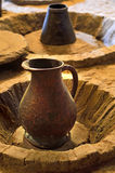 Ancient jug of wine. Ancient jug of wine in the wine cellar stock photography