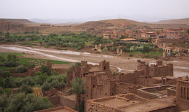 Ancient Kasbah Ait-Ben-Haddou, and the modern city. Ancient Kasbah Ait-Ben-Haddou, and the modern town stock image