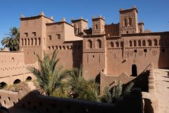 Ancient Kasbah in Ait-Ben-Haddou, Morocoo. Ait Benhaddou, famous ancient berber kasbah, Morocco.Panorama of Ait Benhaddou Casbah near Ouarzazate city in Morocco Stock Images