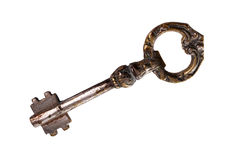 Ancient key isolated over white Royalty Free Stock Photos