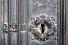 Ancient keyhole. Closeup of keyhole in ancient lock. Croatia. Zagreb stock photography