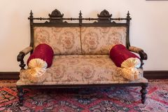 Ancient Khans or kings room interior with old sofa. Ancient eastern interior design Royalty Free Stock Photo
