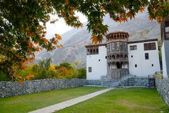 Ancient Khaplu palace in autumn. royalty free stock images