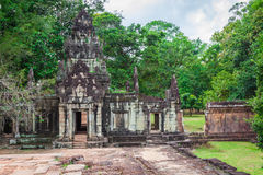 Ancient Khmer architecture. Amazing view of Bayon temple at suns Royalty Free Stock Photo