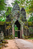 Ancient Khmer architecture. Amazing view of Bayon temple at suns Royalty Free Stock Photos