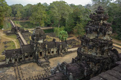 Ancient Khmer architecture. Panorama view of Baphuon temple stock photography