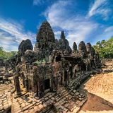 Ancient Khmer architecture. Panorama view of Bayon temple at Ang Stock Image