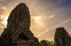 Bayon, Angkor Wat temple. Siem Reap, the smile of angkor. The Ancient Khmer architecture. view of Bayon temple at sunset. Siem Reap, Cambodia Angkor smile royalty free stock photography