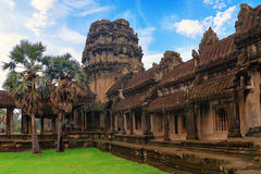 Ancient Khmer architecture. Wat complex, Siem Reap, Cambodia travel destinations. Royalty Free Stock Photo