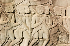 Ancient Khmer Army carving Stock Photos