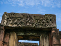 Ancient khmer art sand stone carving Phimai historical park. Stock Images
