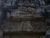 Ancient khmer art sand stone carving Phimai historical park. Stock Photography