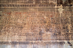 Ancient Khmer bas-relief at Angkor Wat temple, Cambodia Royalty Free Stock Image