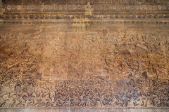 Ancient Khmer bas-relief at Angkor Wat temple, Cambodia Stock Photography