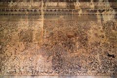 Ancient Khmer bas-relief at Angkor Wat temple, Cambodia Royalty Free Stock Photo
