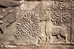Ancient Khmer carving of deer Royalty Free Stock Photos