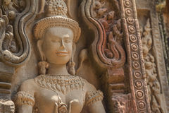 Ancient Khmer carving of Krishna, Angkor Royalty Free Stock Photo