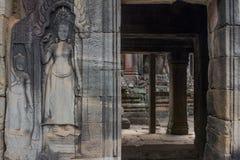 Ancient Khmer carving of Krishna, Angkor Royalty Free Stock Images