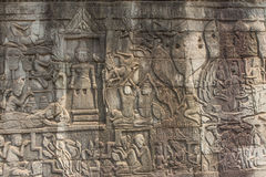 Ancient Khmer carving of Krishna, Angkor Royalty Free Stock Image
